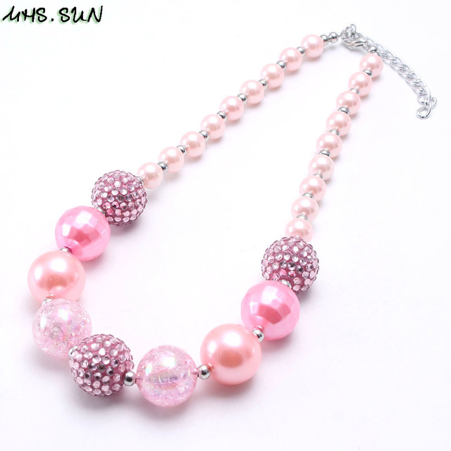MHS.SUN Girls Chunky Beads Necklace Fashion Pink Style Baby Child Beads Necklace Charm Trendy Chunky Bubblegum Jewelry Newest