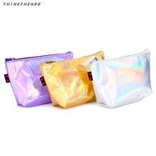8d824489d THINKTHENDO moda mujer holográfico holograma lápiz bolso de la cremallera  bolso cosmético del maquillaje del bolso