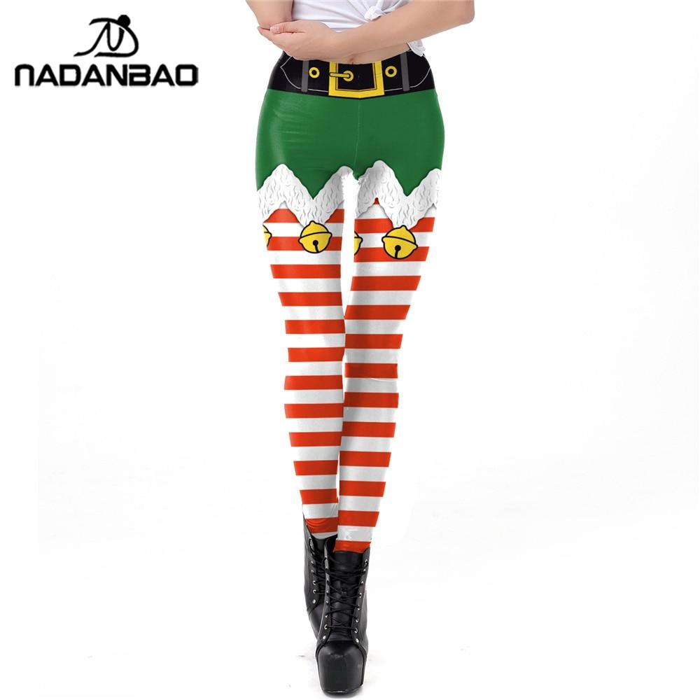 NADANBAO Stripe Tribal Leggings Women Christmas Bell Belt Plus Size Leggins Autumn Winter Festival Legging belt