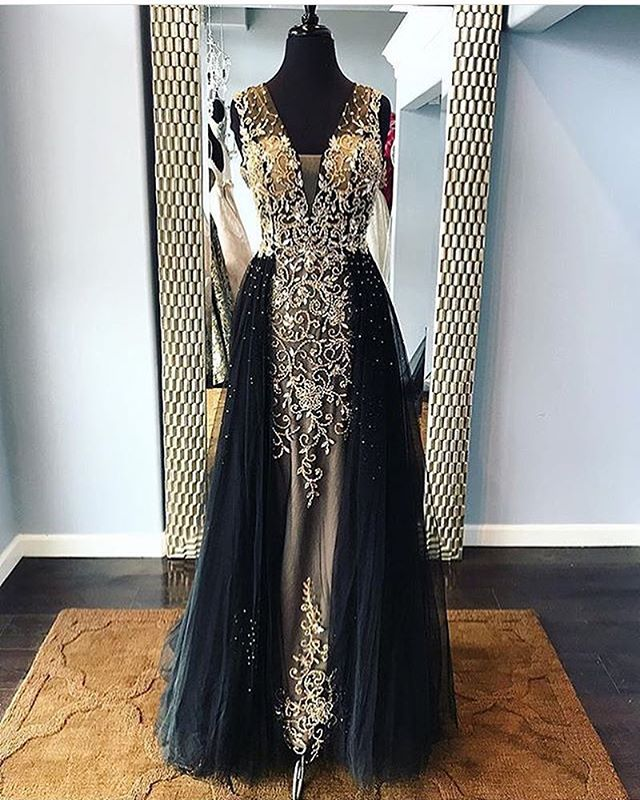 Robe de soriee New Black   Evening     Dress   2018 V-Neck Sleeveless Floor Length Beading Tulle A-Line Prom   Dresses   Removable Skirt
