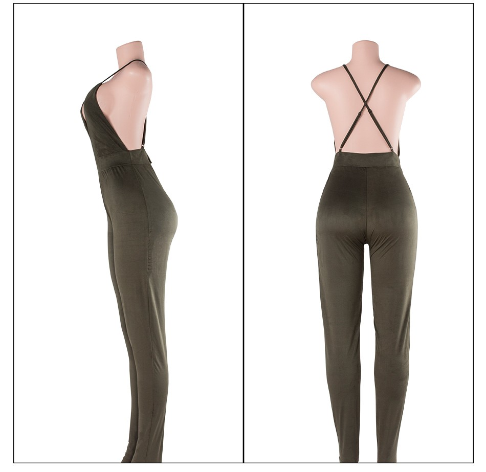 Sedrinuo Sleeveless Elegant Jumpsuit Fashion Bodycon Deep V neck Halter Cross Suede Sexy Club Jumpsuits and Rompers for Women 25