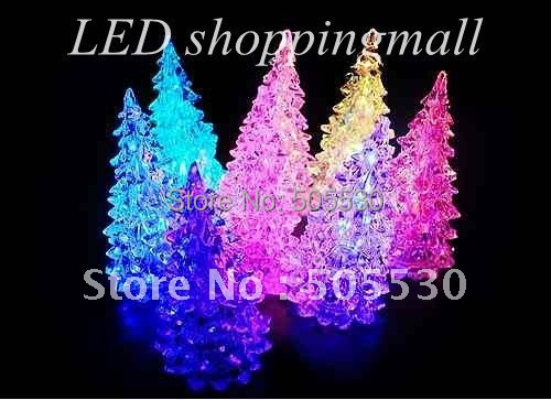 Free Shipping Christmas tree LED night light  Halloween gifts crystal Christmas night lamp seven color changing 10pcs/lot