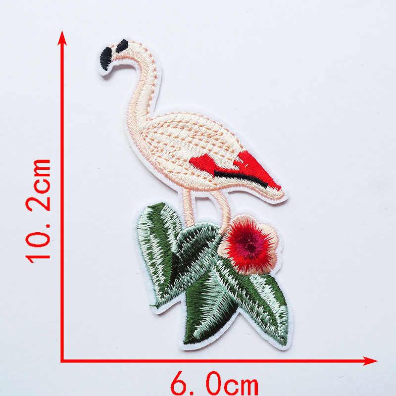 1 Uds. Parches de hierro bordados con diseño de flamenco para ropa DIY, adhesivos para ropa, apliques personalizados, insignias de costura