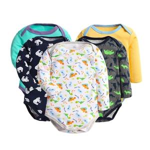Image 1 - 5 pcs/lot Bébé Combinaisons Enfants Combinaisons À Manches Longues Coton Bébé Garçon et Fille Bébé Corps Roupa Infantil Toca Salopette pour enfants