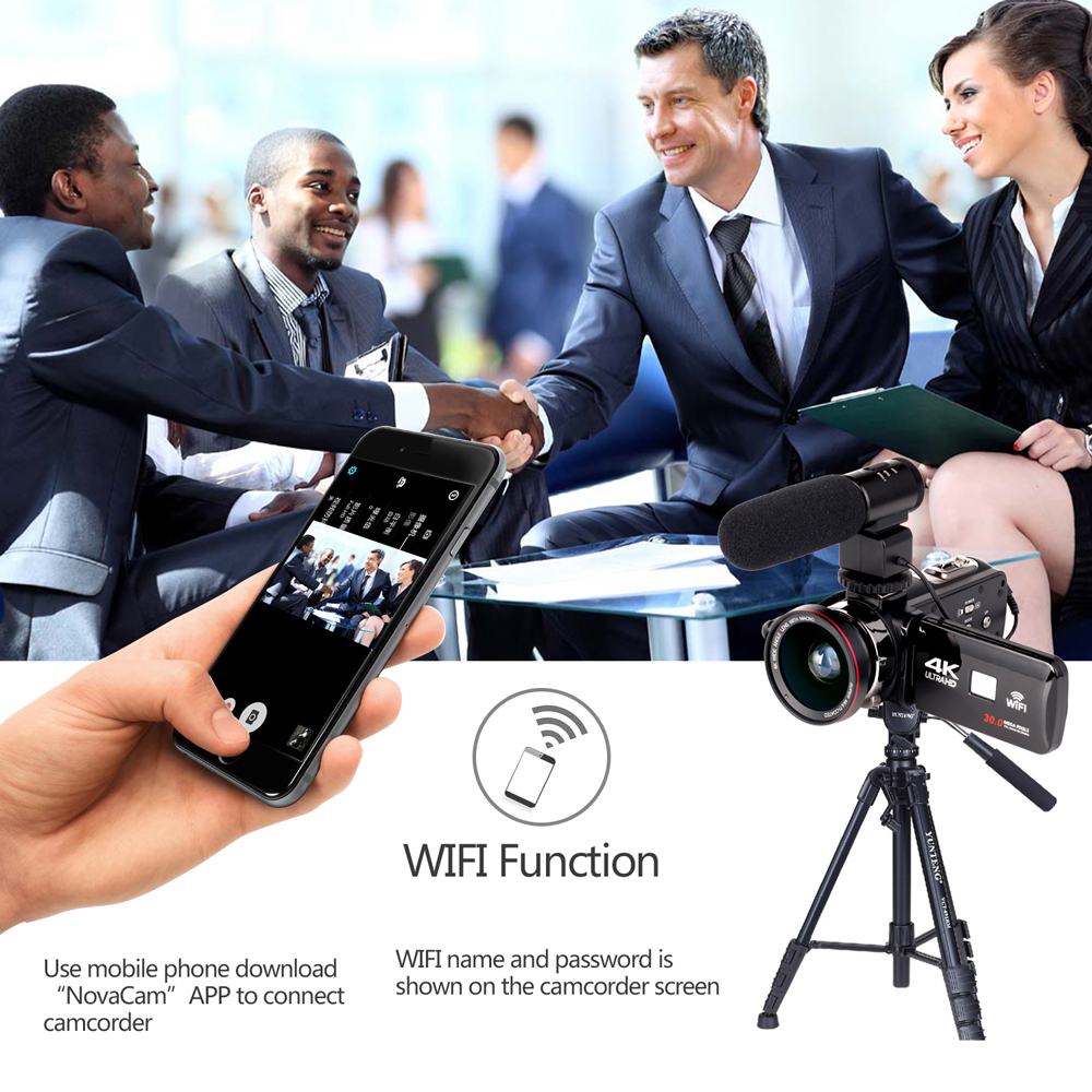 KOMERY 4K Camcorder Video Camera Wifi Night Vision 3.0 Inch LCD Touch Screen Time-lapse Photography Camera Fotografica With Micr 6