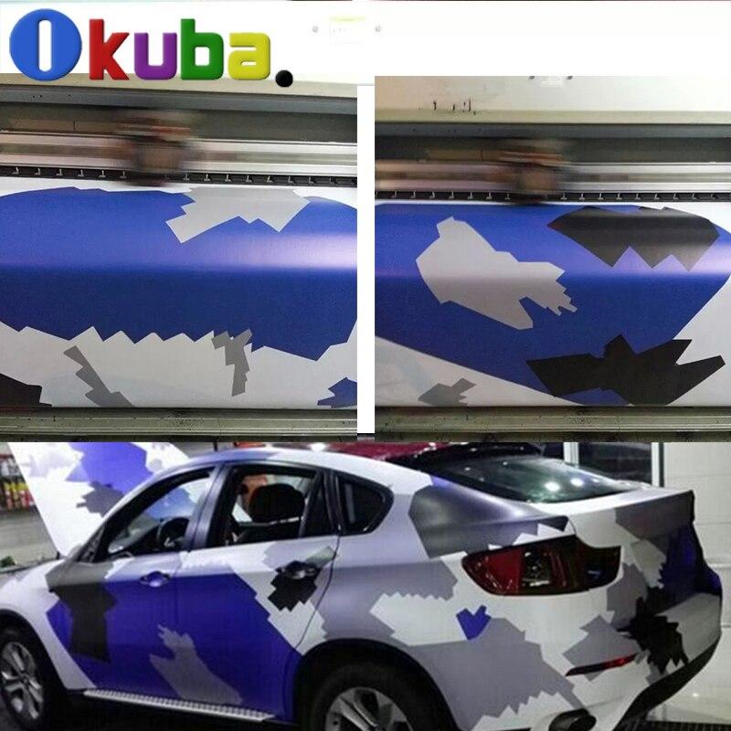 Grand bleu noir blanc gris arctique Camo Film voiture Wrap bricolage Camouflage vinyle rouleaux PVC matériel adhésif feuille 1.52*30 m/rouleau