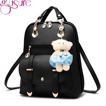 GUSURE Women Backpacks PU Leather School Shoulder Bags Teenage Girls College Student Casual Bag Knapsack Book Backpacks