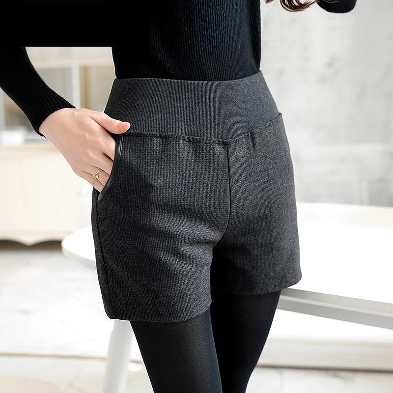 Woman Plus Size Spring Autumn High Elastic Waist Straight Thick Slim   Short   Lady Casual Pocket Winter Oversized Solid   Shorts