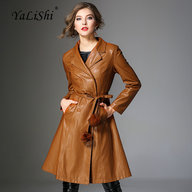 Fashion Winter Women Coats Normcore Full Sleeve Turn-down Collar Casual PU Faux   Leather   Jacket Long Coat Autumn Outwear Coats