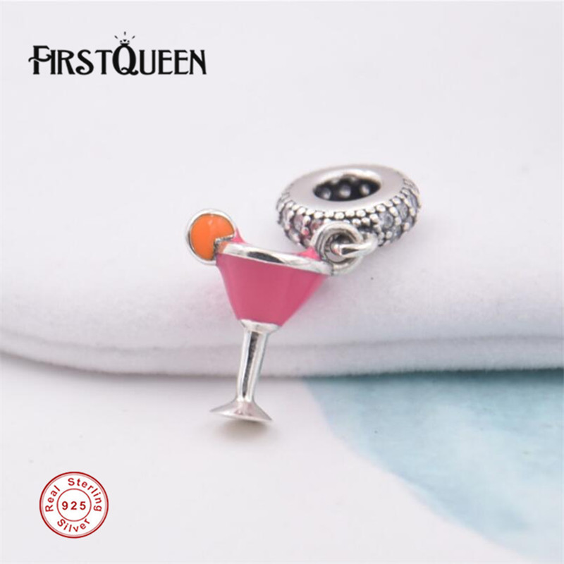 FirstQueen Fruity Cocktail Dangle Charm, Enamel Bead Fit Brand Silver Bracelet DIY Charms for Jewelry Making Fine Jewelry