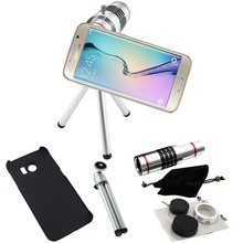 Buy Telescope 18x Zoom Case Telephoto Camera Photography Lente lens+Aluminum Tripod For Samsung Galaxy S6 S7 Edge Plus/S8 S8 PLUS