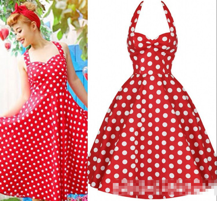 Retro Vintage Style 50s Rockabilly Swing Polka Dot Halter Pinup ...