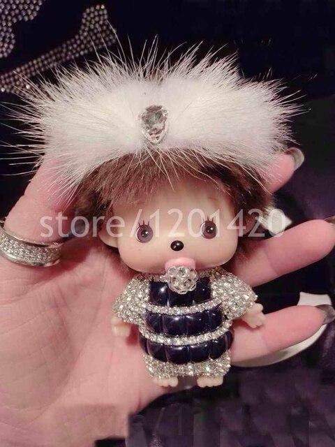 Monchhichi Keychain Cute Women Bag Accessories keychain Real Mink fur bow Rhinestone gems stones bling purse charm car keys ring