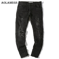 Aolamegs Biker Ripped Jeans For Men Elasticity Holes Pants Mens Skinny Jean Straight Baggy Denim Cotton