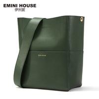 EMINI HOUSE Split Leather Tote Bag Shoulder Women Messenger Bags Ladies Leather Handbags Magnetic Buckle Crossbody