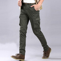 Mens Pants Packet Trousers Cotton Slim Fit Pants For Man Skinny Military Casual Cargo Overalls For Male Size 28 38 Army Green
