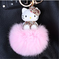 Cute Inlay crystal dolls HELLO KETTY Key Chain Keychain Car key ring Women Bag charm Accessories porte clef