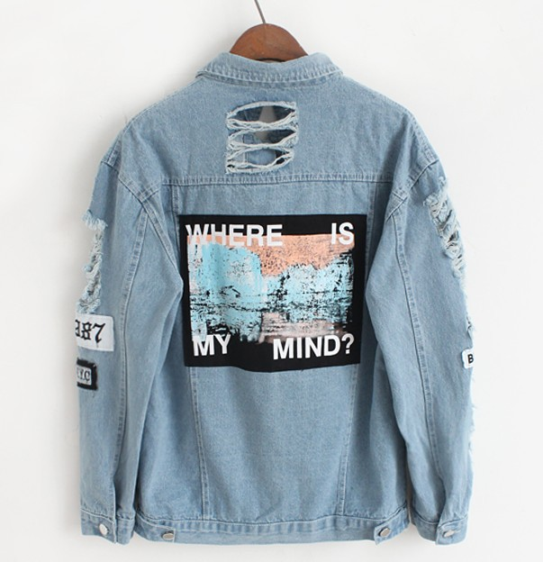 Women Frayed Denim Bomber Jacket Appliques Print Where Is My Mind Lady Vintage Elegant Outwear Autumn Fashion Coat 7