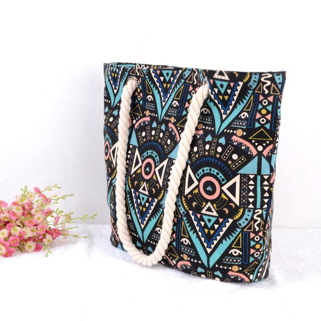 Hot Selling Women canvas Handbag Tote Shoulder Bags Large fashion geometry pattern shoulder portable bag ladie