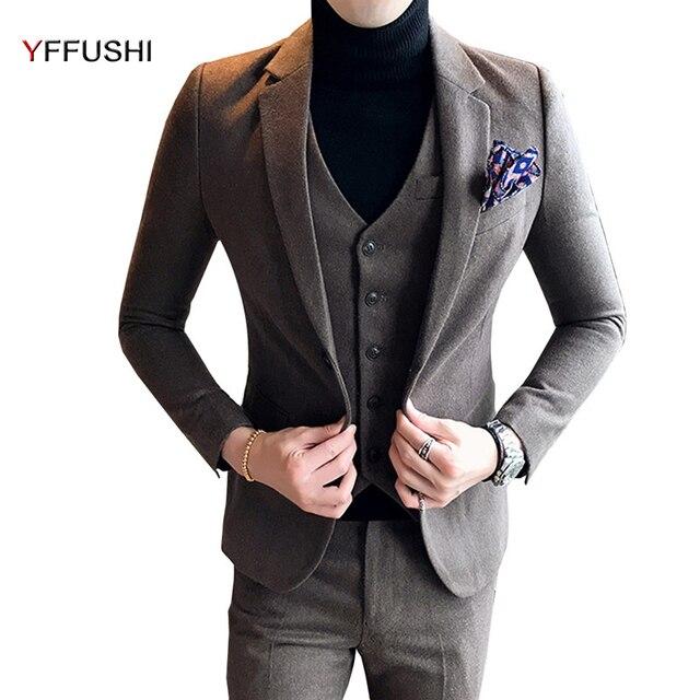Yffushi 2018 3 Pieces Men Suit Latest Coat Pant Designs Grey Navy