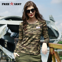 FREE ARMY High Quality T Shirts Basic Long Sleeve Military Camo Women T Shirt Four Colors