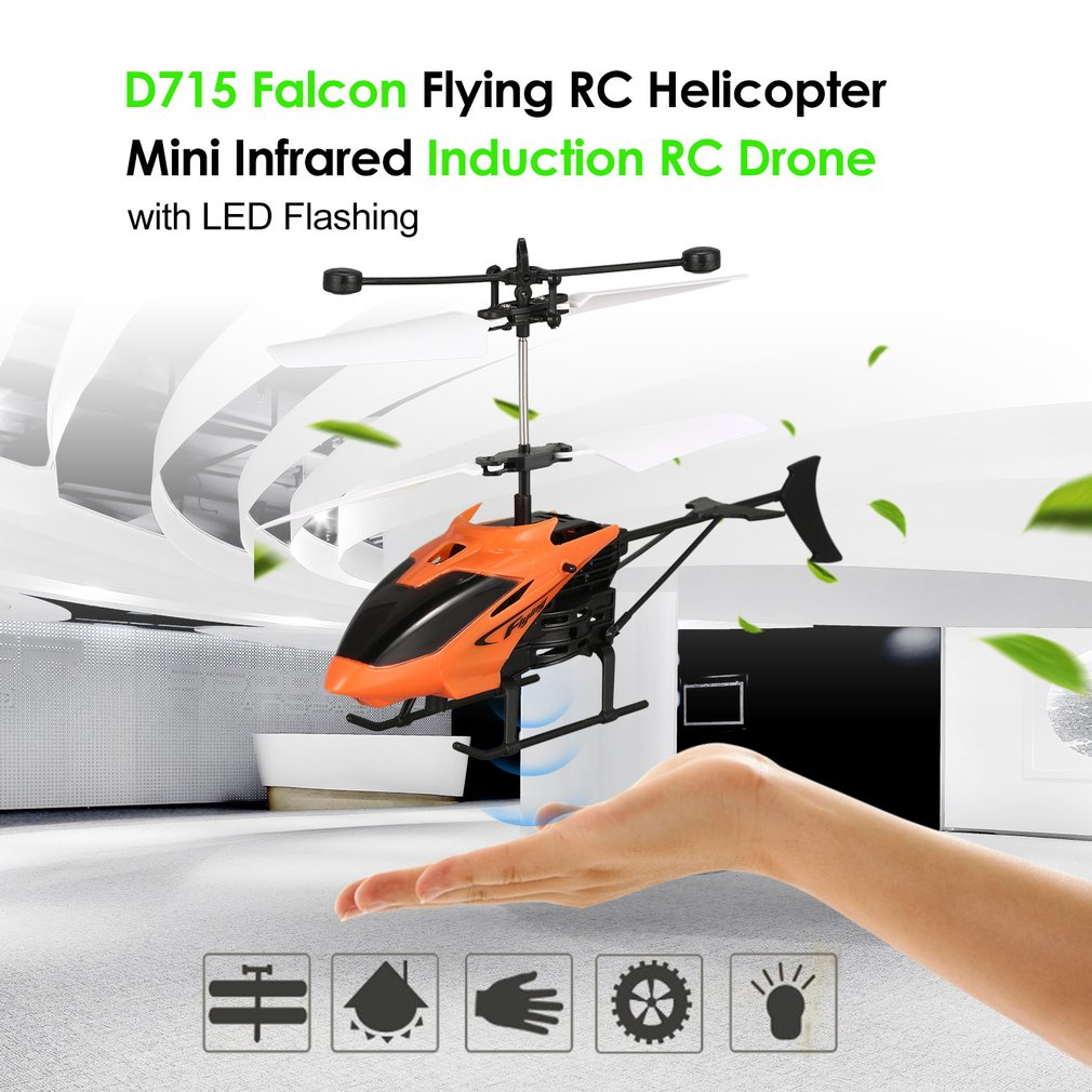 D715 Flying Mini Infrared Induction Helicopter Aircraft USB Charge LED Flashing Light Drone Toys  Kids Gifts