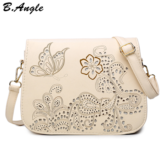 High quality flowers and butterfly Hollow Out messenger bag women bag cross body bag school bag Saddle PU Leather