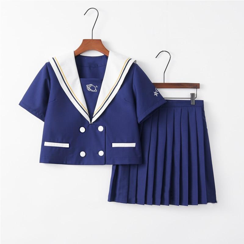 Lolita Sailor Japan Uniform For Girls Sweet Wind Japanese Korean Women COS Uniforms Dark Blue Shirt Pleated Skirt Sets
