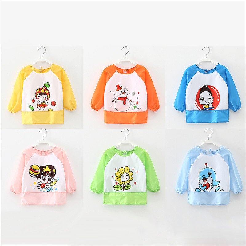 Baby Bibs Cartoon Cute Animal Printed Apron Feeding Toddlers Bibs Long Sleeve Art Smock Waterproof Clothing For Eating Painting