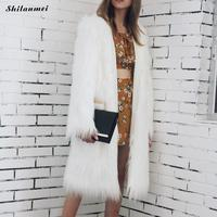Mid Long Faux Fur Coat Women Jacket Furry Fake Fur Coats Female Slim Winter Overcoat Outerwear Fashion New White Faux Fur Coat