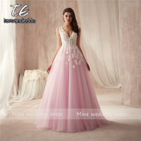 Sexy V Neck Backless Lace Prom Dress Fashion A Line Tulle Appliques Court Train Vestido De Noiva Elegant Evening Gowns