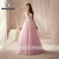 Sexy V Neck Backless Lace Prom Dress Fashion A Line Tulle Appliques Court Train Vestido De Noiva Elegant Evening Gowns