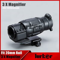 Tactical Military 3x Magnifier 302 3X25MM Optics Scope MagAirsoft Riflescope Magnifying Rifle Scope Focus For Hunting