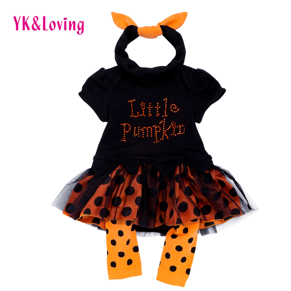 Halloween Baby Dress Set Girl Tutu Lace Black Romper Clothing Newborn Ruffle Girl Gowns Party little Pumpkin Infant Clothes цена
