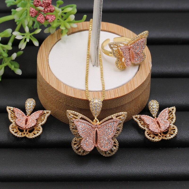 Fateama ensemble de bijoux stéréo gracieux papillon collier de luxe avec boucles d'oreilles et bague pour fiançailles pave réglage bijoux de mode