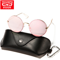 TRIUMPH VISION Blue Mirror Round Vintage Sunglasses Women 2017 New Metal Circle Sun Glasses For Women