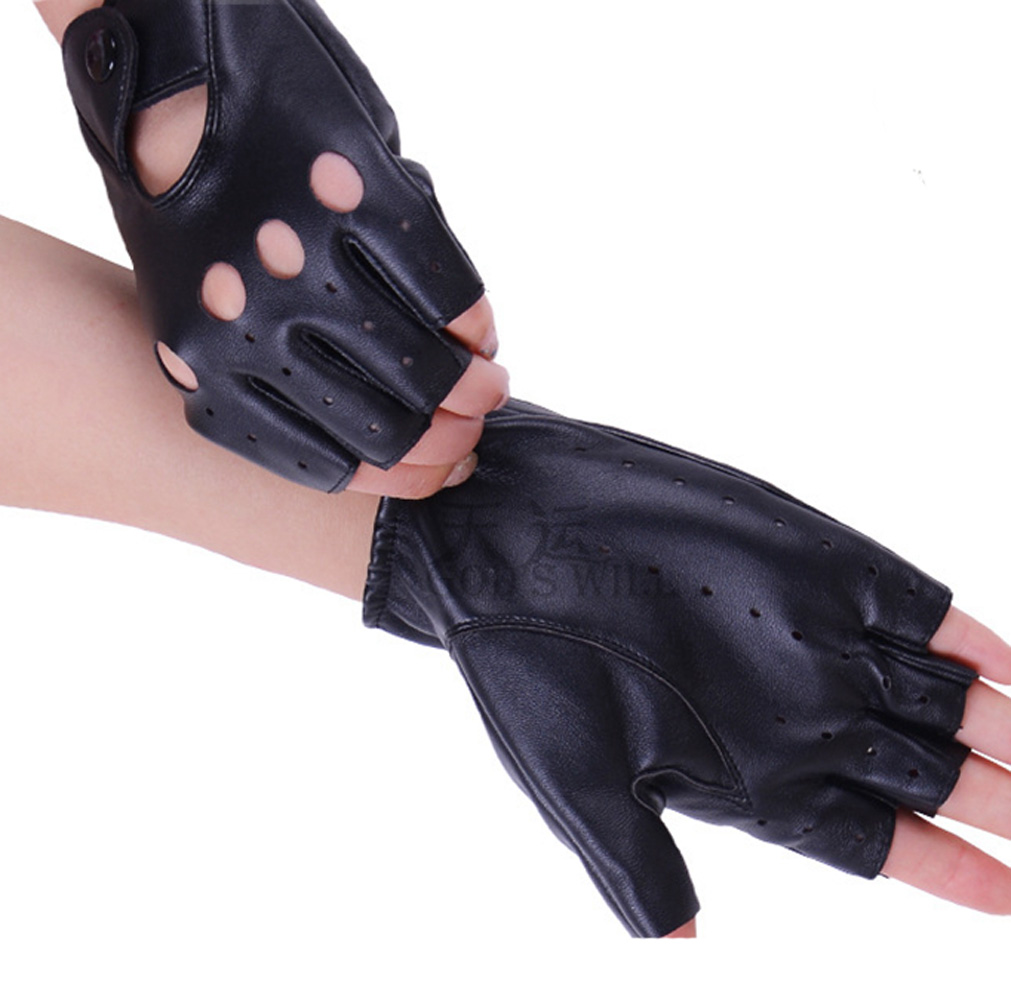 Ladies leather cycling gloves - Women Sexy Pu Leather Gloves Half Fingers Ladies Sports Cycling Gloves Sportswear Guantes Ciclismo China