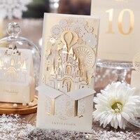 50 حزمة الإضاءة لطيف تصميم أحمر أبيض القلعة بطاقات دعوات الزفاف دعوة كيت birde العريس 3d. access convite