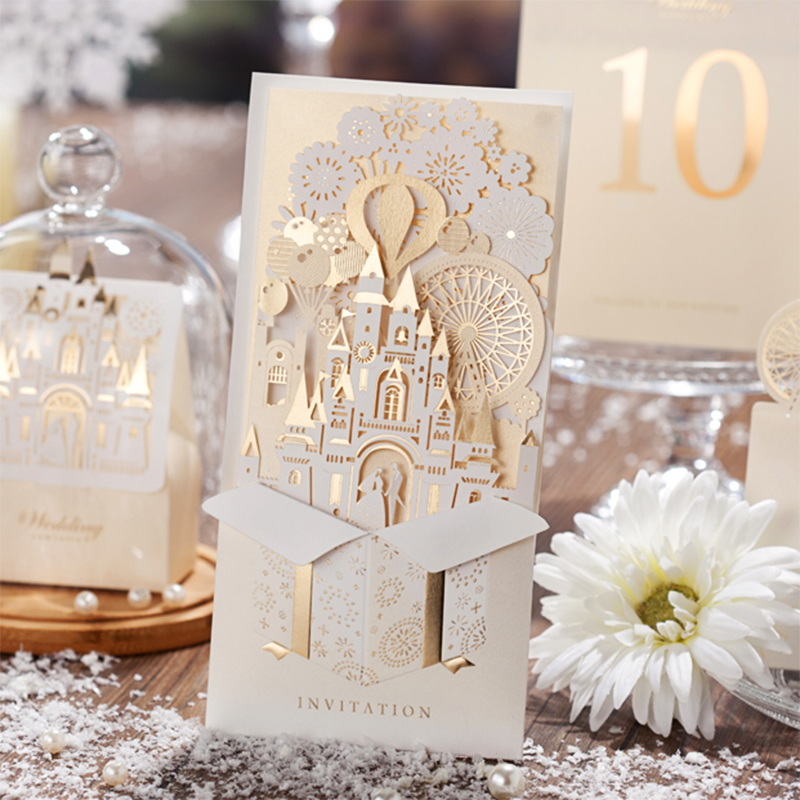 50 Pack Lighting Cute Design Red White Castle Wedding invitations Kit Birde Groom 3D Invitation Cards casamento convite elegant flower lace lacut cut wedding invitations set blank ppaer printing invitation cards kit casamento convite pocket