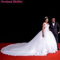 Romantic Long Ball Gown Wedding Dresses Classic White V Neck Applique Tulle Bride Dress Robe De