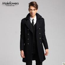 2014 зима новый двубортный шерстяное пальто мужской Длинный Тонкий шерстяной жакет бренд нагрудные хлопка мягкой ветровка H1923