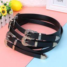 Women Black Faux Leather Western Cowgirl Vintage Waist Belt Metal Buckle Adjustable все цены