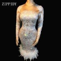 Модные блестящие AB Камни перо платье стрейч сексуальный ночной клуб бар Одежда для танцев вечерние праздничное платье костюм платья вечери