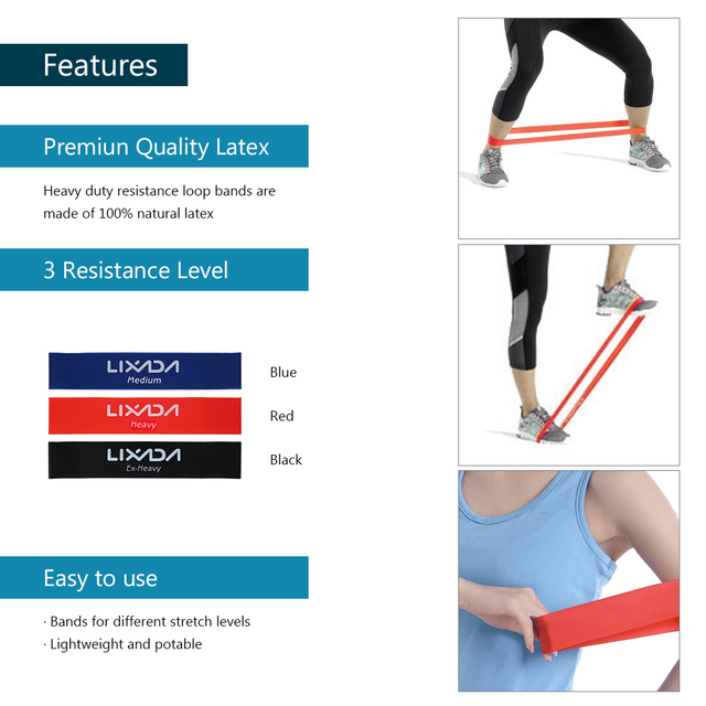 Lixada Sports Exercise Resistance Loop Bands Set Resistance Bands Elastic Booty Band Set for Legs and Strength Training