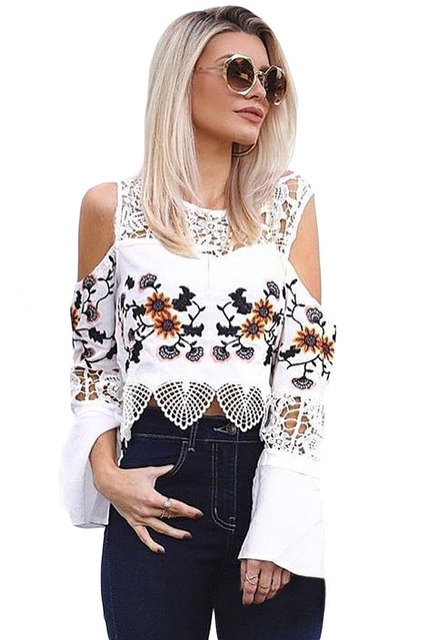 8bc77029 Women Cold Shoulder Crop Top Casual Black White Lace Crochet Floral Print  Bell Sleeve O Neck T shirt Camisetas Mujer