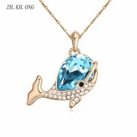 ZK. KH. ONG Moda bonito da cor do ouro colar Áustria cristal zircon oceano baleia peixe pingente de colar para as mulheres jóias N138