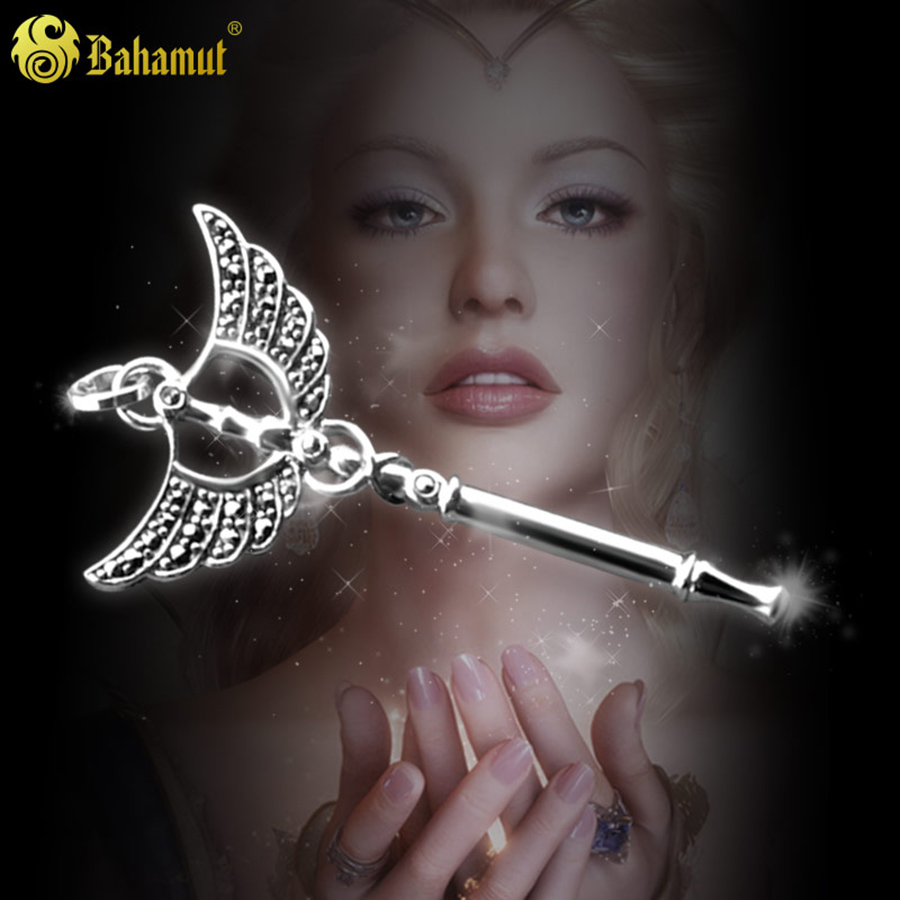 925 Sterling Silver Magic Wand Angel Necklace Pendants for Girlfriend Women Fashion Jewelry Christmas Gifts Magic Stick Hot