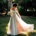 Encaje marfil champán vestidos con malla hombros Beach wedding dresses Tulle destino boda vestidos