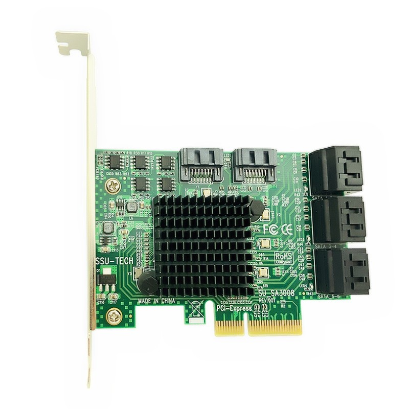 PCI-E PCI Express vers SATA 3.0 III 3 6 Gb carte contrôleur SSD PCIe 8 ports SATA carte SSD SATA3.0 adaptateur support de profil bas