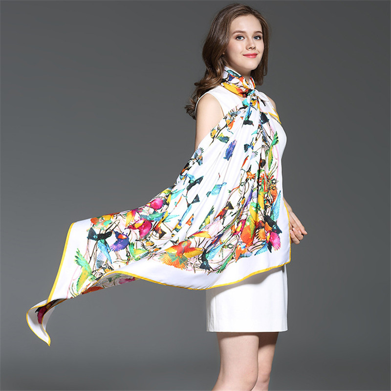 Fashion Twill Silk Women Scarf 130*130 cm Euro Design Colors Birds Print Square Scarves High Quality Gift Large Silk Shawl